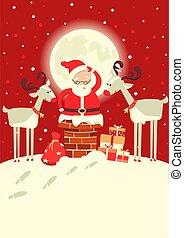 inverno, claus, chaminé, deers, lua, vetorial, ilustração, santa, feriado, natal, night.