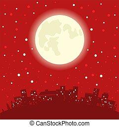 inverno, claus, chaminé, deers, vetorial, ilustração, santa, feriado, natal, night.