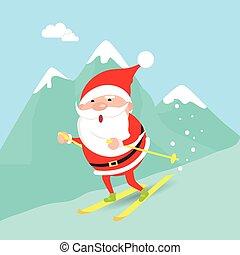 inverno, claus, giù, spostamento, santa, montagne.