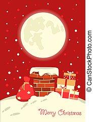 inverno, claus, ilustração, vetorial, chaminé, santa, feriado, natal, night.