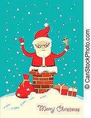 inverno, claus, santa, noturna, feriado, natal, chaminé