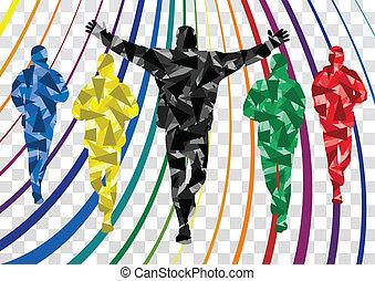 inverno, coloridos, silhuetas, corredores, fundo, maratona