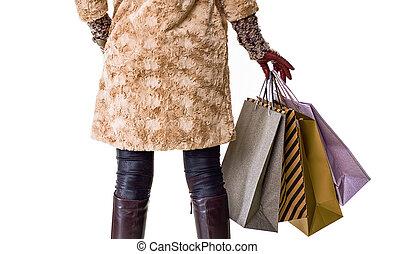 inverno, comprador, agasalho, jovem, atrás de, visto, branca