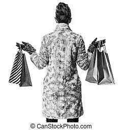 inverno, comprador, agasalho, modernos, atrás de, visto, branca