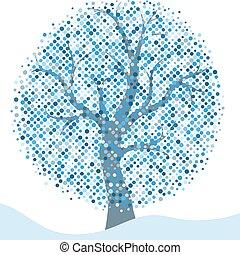 inverno, cornice, albero, isolato, argento, stilizzato, elegante, natale