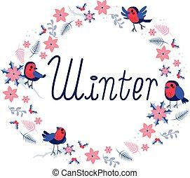 inverno, cornice, uccelli, rotondo