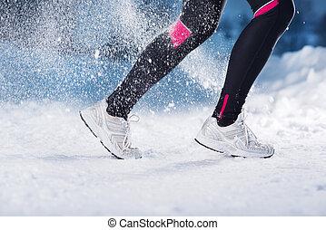 inverno, correndo, donna