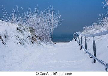 inverno, costa, de, a, báltico, sea.