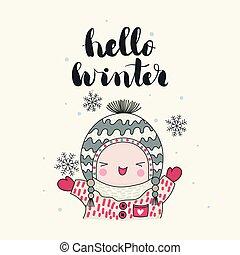 inverno, crianças, cartão, olá
