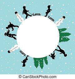 inverno, crianças, redondo, silhuetas, cartão jogando