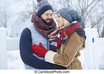 inverno, data, de, par feliz