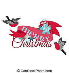 Inverno, decoração,  -, Pássaros, vetorial, desenho,  scrapbook, Natal, cartão