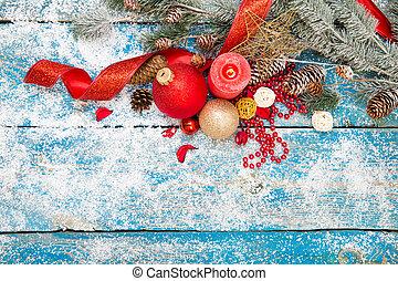 inverno, decoration., composizione, su, legno, fondo.