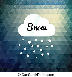 inverno, desenho, nuvem, denominado, cartão, retro
