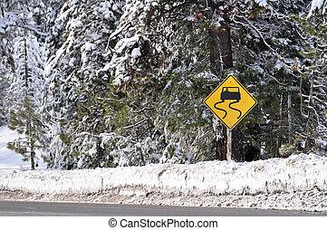 inverno, dirigindo, sinal, aviso, cautela, tempestade