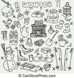 inverno, doodle, ícones,