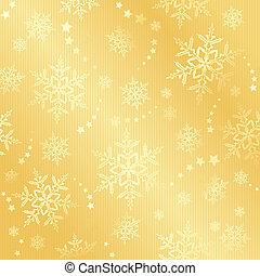 inverno, dourado, neve flake, padrão