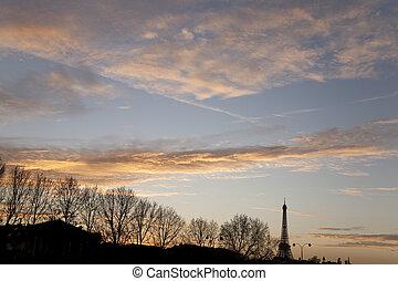 inverno, eiffel, paris, árvores, frança, torre
