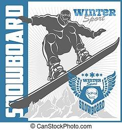 inverno, elements., etiquetas, emblema, tema, adventure., snowboarding, projetado, ao ar livre, jogos, extremo