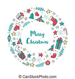 inverno, elements., grinalda, tradicional, feriado, natal