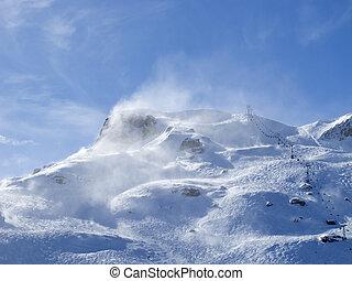 inverno, em, alpes