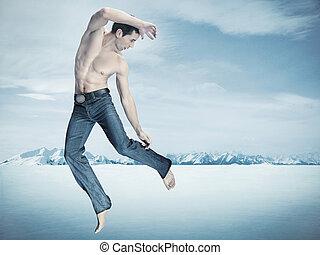 inverno, estilo, moda, foto, de, um, bonito, homem