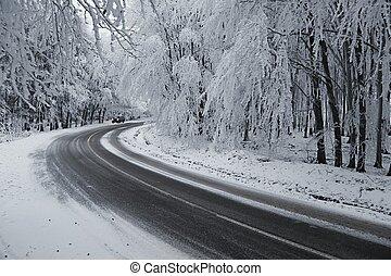 inverno, estrada, voltas