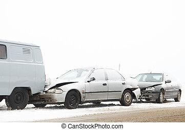 inverno, falência carro, acidente
