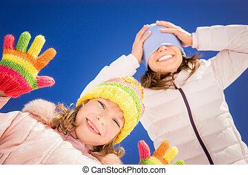 inverno, família, feliz