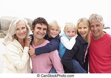 inverno, família, geração, cima, três, fim, praia
