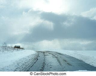 inverno, fattoria, strada