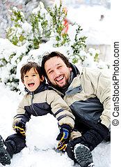 inverno, felizmente, estação, pai, neve, filho, boneco neve,...