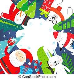 inverno, feriados, invista cartão, seu, space., saudação, texto, cópia