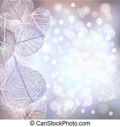 inverno, festivo, quadro, luzes, bokeh, fundo, geada, folhas