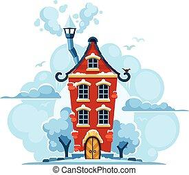 inverno, fiaba, casa, in, neve, con, nubi
