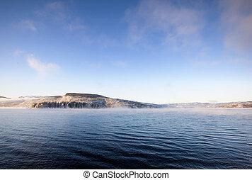 inverno, fiordo, paesaggio
