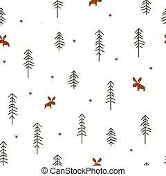 inverno, floresta, com, um, alces