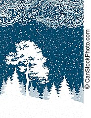 inverno, floresta, paisagem, natal