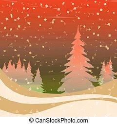 inverno, fondo, foresta, natale