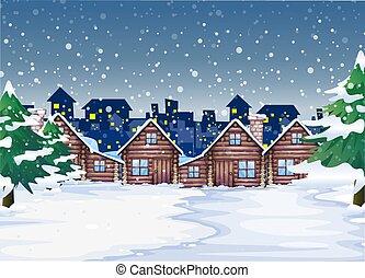 inverno, fondo, notte