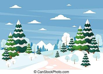 inverno, foresta, paesaggio, natale, fondo, pino, neve,...