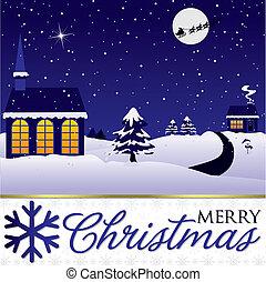inverno, formato, scena, vettore, Natale, Scheda
