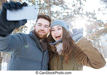 inverno, foto, selfie, parque, fazer, par