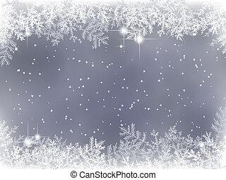 inverno, fundo, com, decoração natal