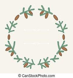 inverno, fundo, desenho, com, stylized, abeto, branches.