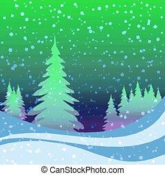 inverno, fundo, floresta, natal