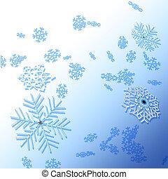 inverno, fundo, snowflakes