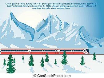 inverno, geleira expressa, executando, trem, montanhas, sightseeing