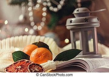 inverno, ghirlanda, mandarino, lampada, libro, anno, interno, nuovo, vista