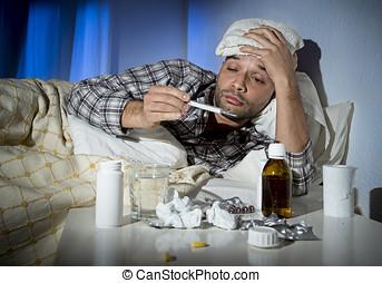 inverno, gripe, sofrimento, cama, vírus, tabuletas, doente, medicina, gelado, tendo, mentindo, homem
